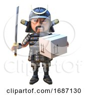 Cartoon 3d Japanese Samurai Warrior In Armour With Sword Delivering A Carboard Box Parcel 3d Illustration