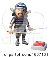 Cartoon 3d Japanese Samurai Warrior In Full Armour Standing Next To A Red Alarm Button Switch 3d Illustration