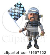Cartoon 3d Japanese Samurai Warrior With Sword Holding A Checkered Flag 3d Illustration
