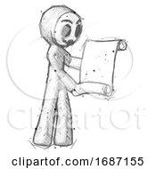 Sketch Little Anarchist Hacker Man Holding Blueprints Or Scroll