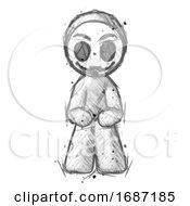Sketch Little Anarchist Hacker Man Squatting Facing Front