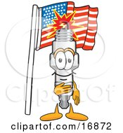 Spark Plug Mascot Cartoon Character Pledging Allegiance To The American Flag