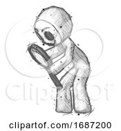 Sketch Little Anarchist Hacker Man Inspecting With Large Magnifying Glass Left