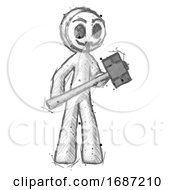 Sketch Little Anarchist Hacker Man With Sledgehammer Standing Ready To Work Or Defend
