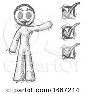 Sketch Little Anarchist Hacker Man Standing By List Of Checkmarks