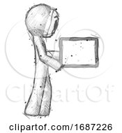 Sketch Little Anarchist Hacker Man Show Tablet Device Computer To Viewer Blank Area