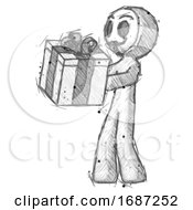 Sketch Little Anarchist Hacker Man Presenting A Present With Large Bow On It