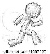 Poster, Art Print Of Sketch Little Anarchist Hacker Man Running Fast Right