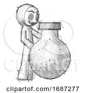 Sketch Little Anarchist Hacker Man Standing Beside Large Round Flask Or Beaker