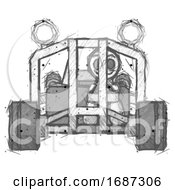 Sketch Little Anarchist Hacker Man Riding Sports Buggy Front View