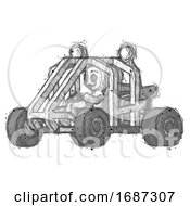 Sketch Little Anarchist Hacker Man Riding Sports Buggy Side Angle View