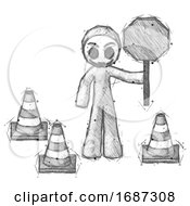 Sketch Little Anarchist Hacker Man Holding Stop Sign By Traffic Cones Under Construction Concept