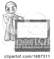 Sketch Little Anarchist Hacker Man Beside Large Laptop Computer Leaning Against It
