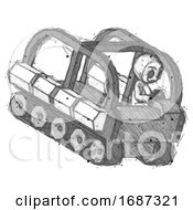 Sketch Little Anarchist Hacker Man Driving Amphibious Tracked Vehicle Top Angle View