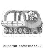 Sketch Little Anarchist Hacker Man Driving Amphibious Tracked Vehicle Side Angle View