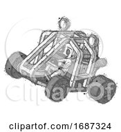 Sketch Little Anarchist Hacker Man Riding Sports Buggy Side Top Angle View