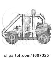 Sketch Little Anarchist Hacker Man Riding Sports Buggy Side View