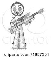 Sketch Little Anarchist Hacker Man Holding Sniper Rifle Gun