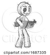 Sketch Little Anarchist Hacker Man Tommy Gun Gangster Shooting Pose