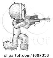 Sketch Little Anarchist Hacker Man Kneeling Shooting Sniper Rifle