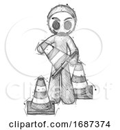 Sketch Little Anarchist Hacker Man Holding A Traffic Cone
