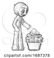 Sketch Little Anarchist Hacker Man With Giant Cupcake Dessert