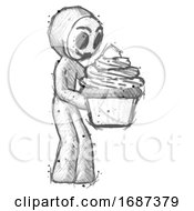 Sketch Little Anarchist Hacker Man Holding Large Cupcake Ready To Eat Or Serve