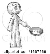 Poster, Art Print Of Sketch Little Anarchist Hacker Man Frying Egg In Pan Or Wok Facing Right