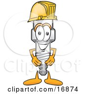 Clipart Picture Of A Spark Plug Mascot Cartoon Character Wearing A Yellow Hardhat Helmet by Toons4Biz