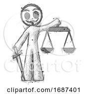 Poster, Art Print Of Sketch Little Anarchist Hacker Man Justice Concept With Scales And Sword Justicia Derived
