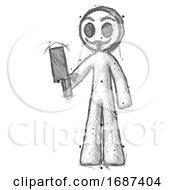Poster, Art Print Of Sketch Little Anarchist Hacker Man Holding Meat Cleaver