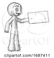 Sketch Little Anarchist Hacker Man Holding Large Envelope