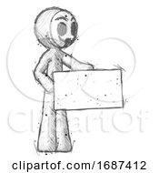 Sketch Little Anarchist Hacker Man Presenting Large Envelope