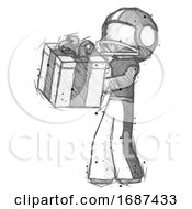 Sketch Football Player Man Presenting A Present With Large Bow On It