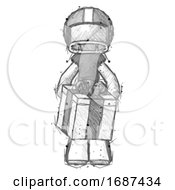 Sketch Football Player Man Gifting Present With Large Bow Front View
