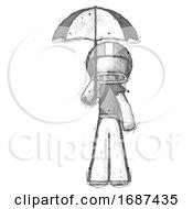 Sketch Football Player Man Holding Umbrella