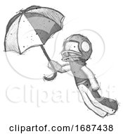 Sketch Football Player Man Flying With Umbrella