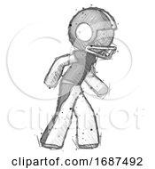 Sketch Football Player Man Suspense Action Pose Facing Right