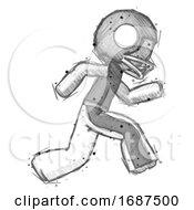 Poster, Art Print Of Sketch Football Player Man Running Fast Right