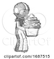 Sketch Football Player Man Holding Large Cupcake Ready To Eat Or Serve