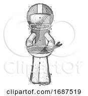 Sketch Football Player Man Serving Or Presenting Noodles