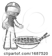 Sketch Football Player Man And Noodle Bowl Giant Soup Restaraunt Concept