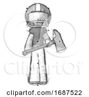 Sketch Football Player Man Holding Fire FighterS Ax