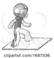 Sketch Football Player Man On Postage Envelope Surfing