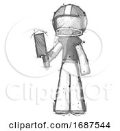 Poster, Art Print Of Sketch Football Player Man Holding Meat Cleaver