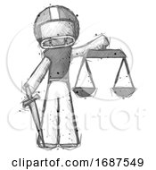 Poster, Art Print Of Sketch Football Player Man Justice Concept With Scales And Sword Justicia Derived