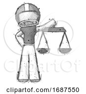 Poster, Art Print Of Sketch Football Player Man Holding Scales Of Justice