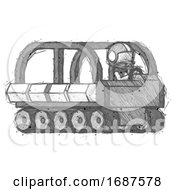 Sketch Football Player Man Driving Amphibious Tracked Vehicle Side Angle View