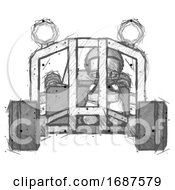 Sketch Football Player Man Riding Sports Buggy Front View
