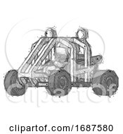 Sketch Football Player Man Riding Sports Buggy Side Angle View